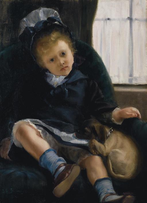 Petite fille au chiot