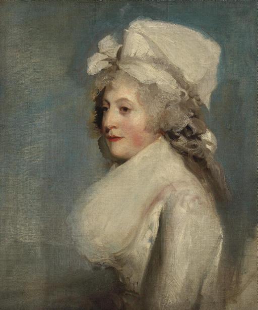 Portrait of Judith Noel, Lady Milbanke, half-length, in a white dress and bonnet