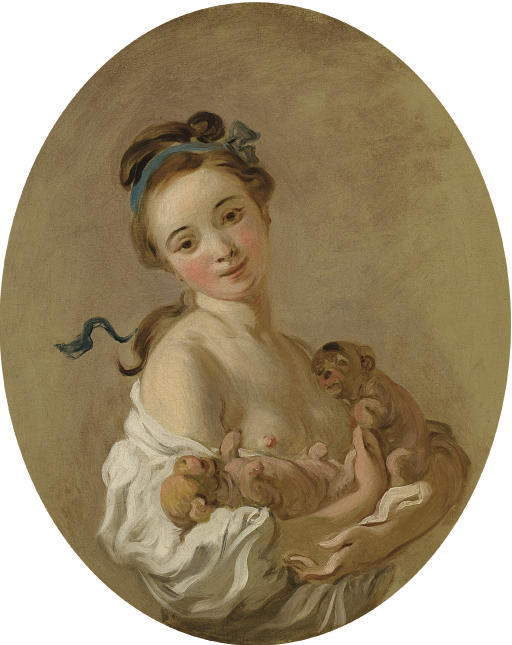 Young girl holding two puppies