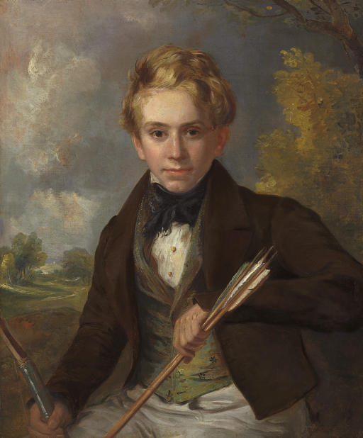 Portrait of a boy, half-length, in a brown jacket and green vest, holding a bow and arrows, in a landscape