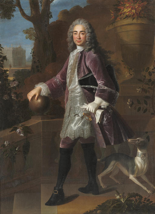 Portrait of a gentleman, said to be Elie de Beaumont, standing full-length, in a lavender velvet coat, with a hound, a landscape beyond