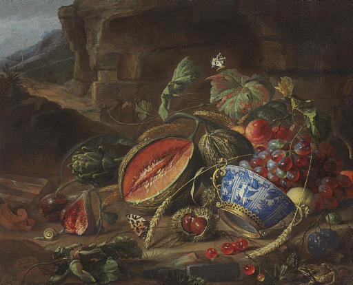 Melons, peaches, grapes, cherries and other fruits, with a wan-li porcelain bowl with gilt mount, insects and butterflies, in a landscape