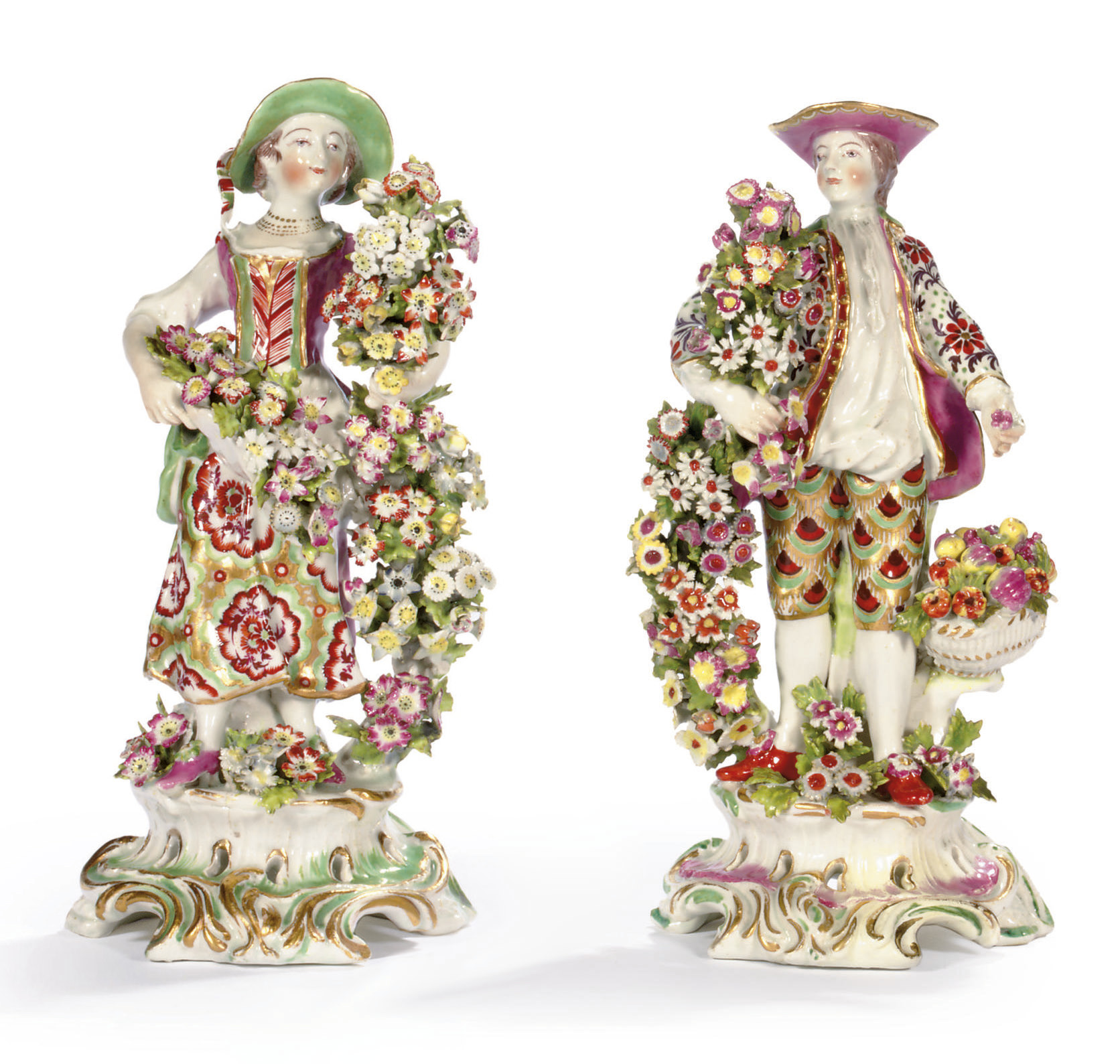 A PAIR OF BOW FIGURES OF A GALLANT AND COMPANION