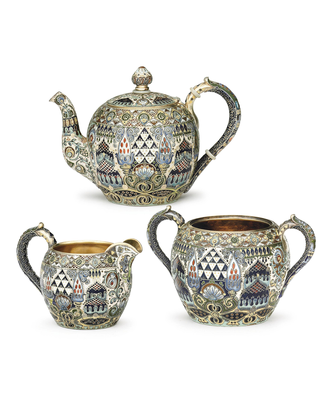 A Silver-Gilt and Cloisonné Enamel Tea Service