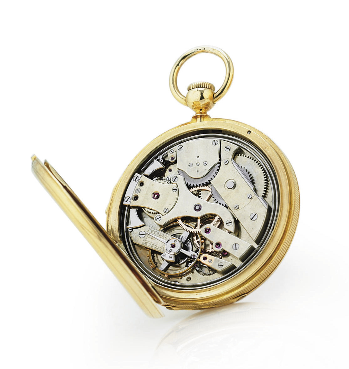 LEROY. AN EARLY 18K GOLD HUNTER CASE QUARTER REPEATING KEYLESS LEVER WATCH