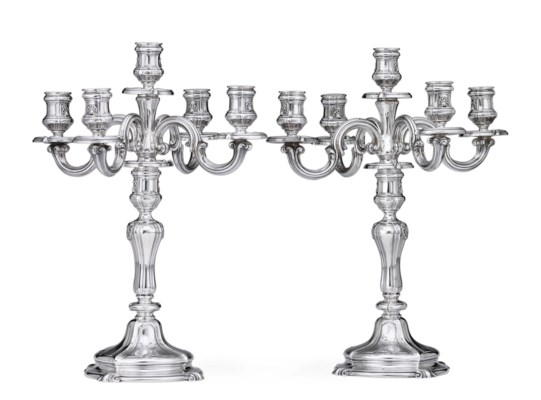 A PAIR OF FRENCH SILVER CANDELABRA , MARK OF TETARD FRERES
