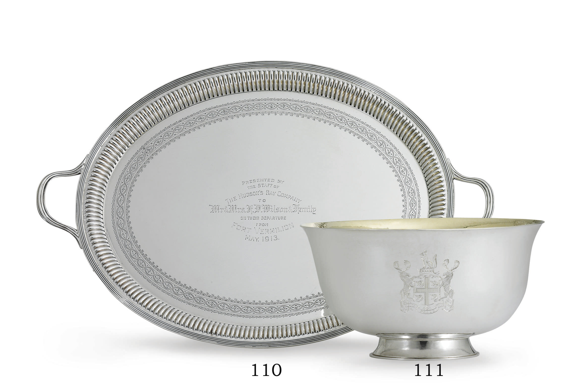 A GEORGE V SILVER PRESENTATION TRAY OF CANADIAN INTEREST