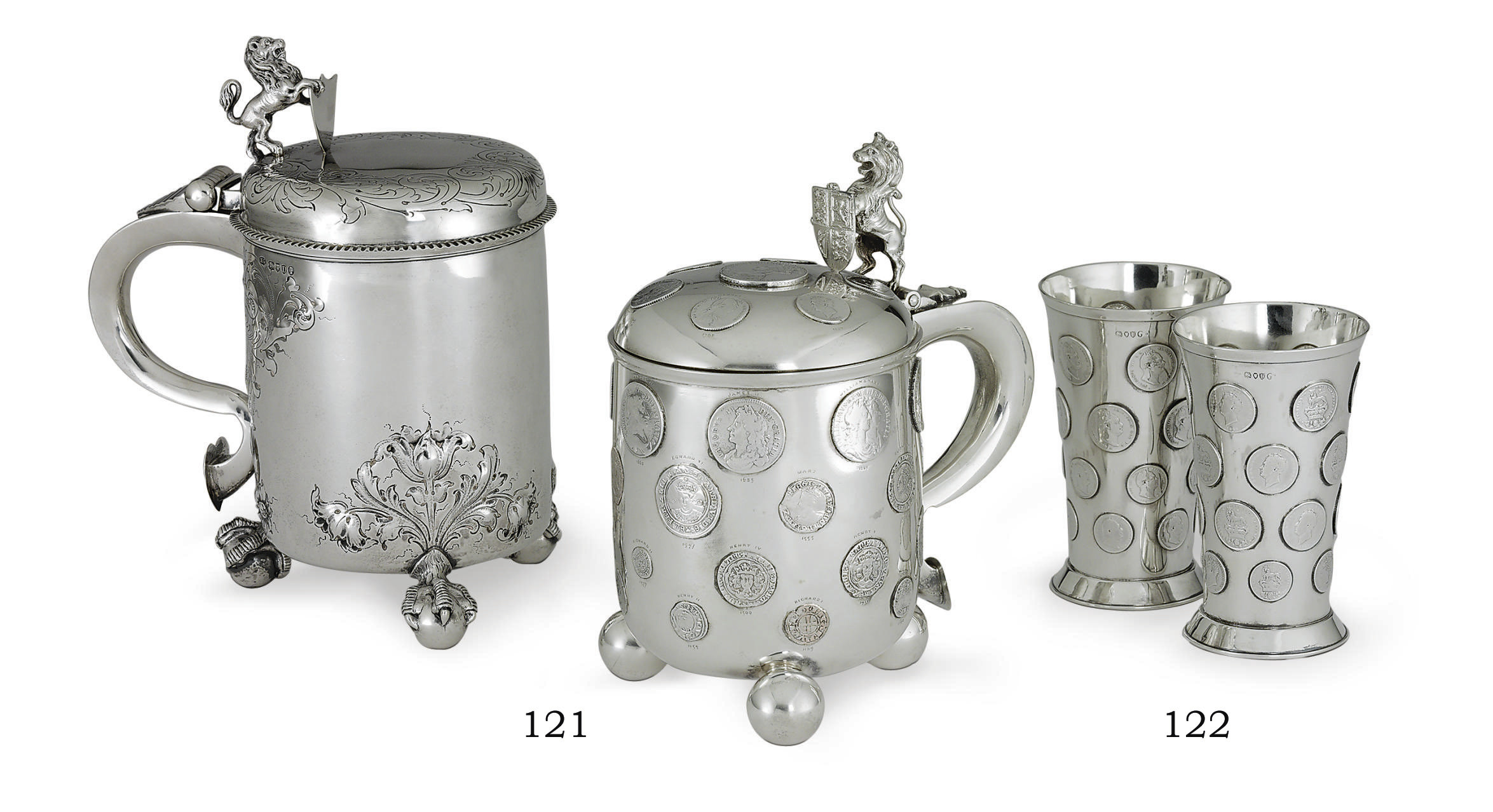 A VICTORIAN SILVER TANKARD AND A PAIR OF SILVER BEAKERS