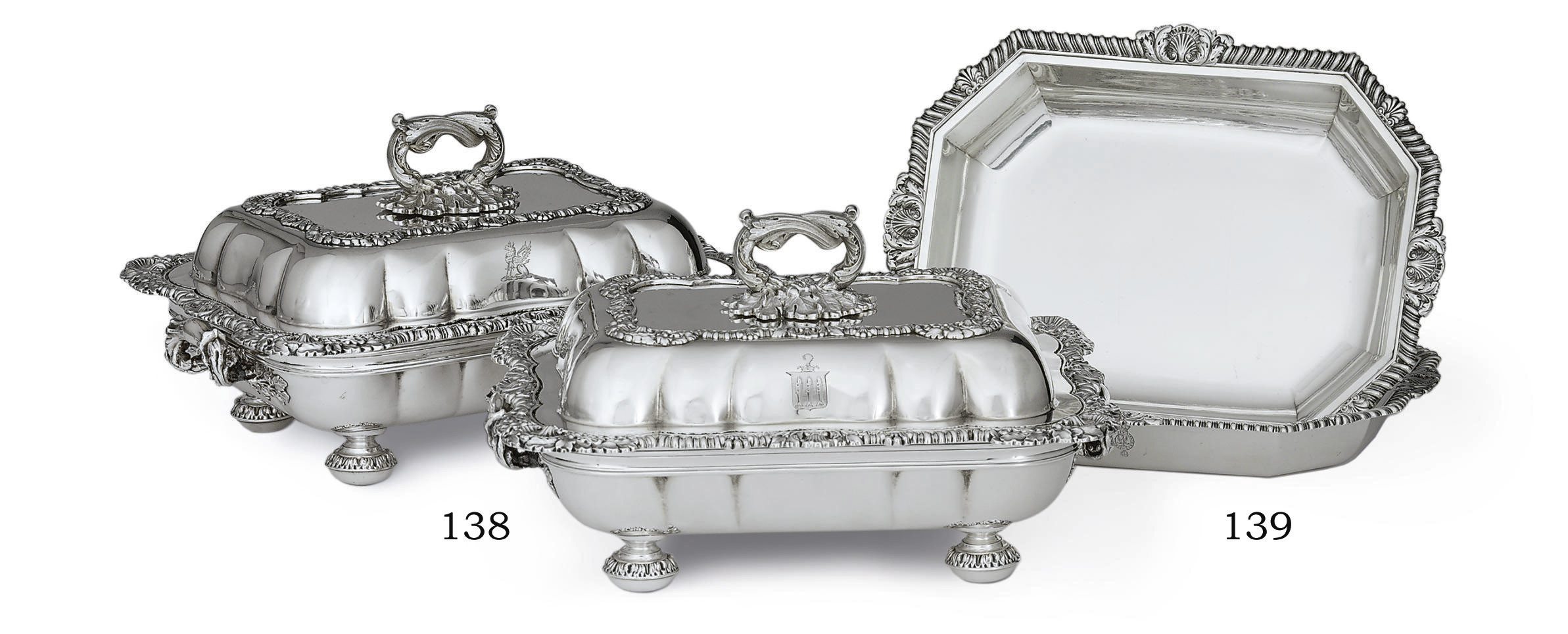 A PAIR OF GEORGE IV SILVER AND SHEFFIELD-PLATED VEGETABLE DISHES AND COVERS