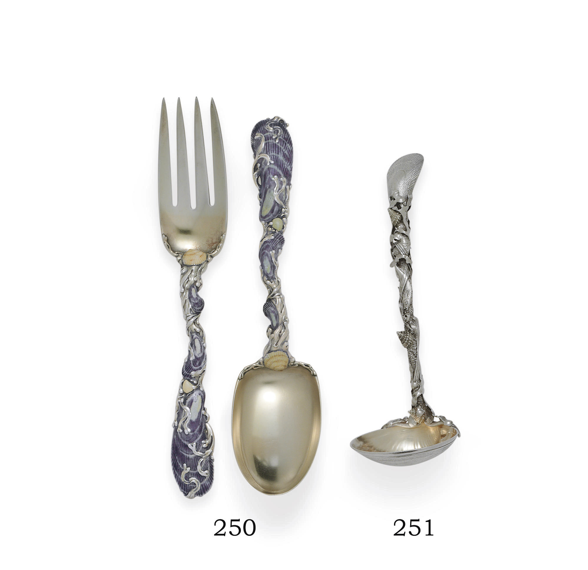 AN AMERICAN SILVER-GILT AND ENAMEL SERVING FORK AND SPOON