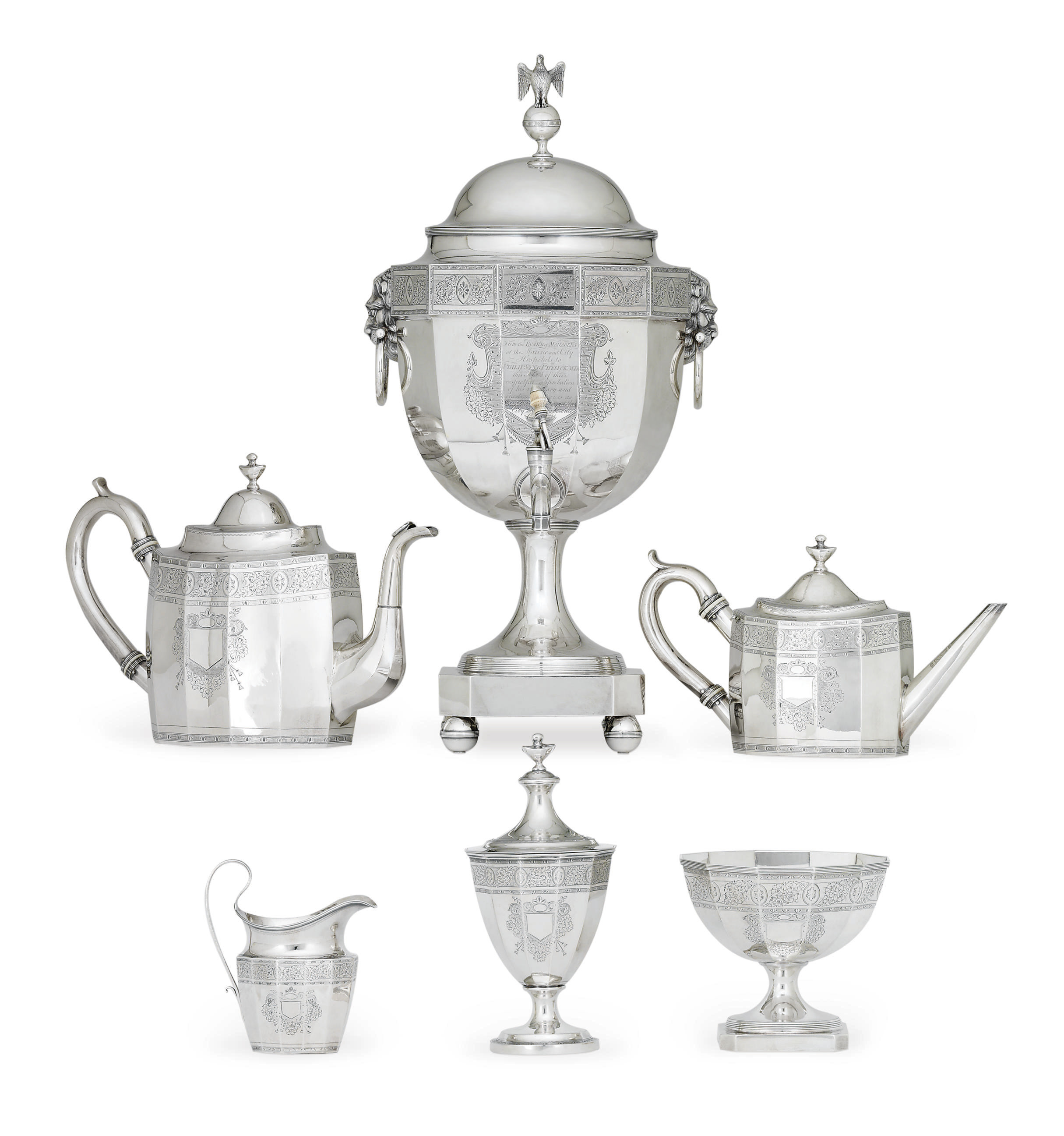 A MAGNIFICENT AMERICAN SILVER TEA URN AND SERVICE PRESENTED TO PHILIP SYNG PHYSICK**