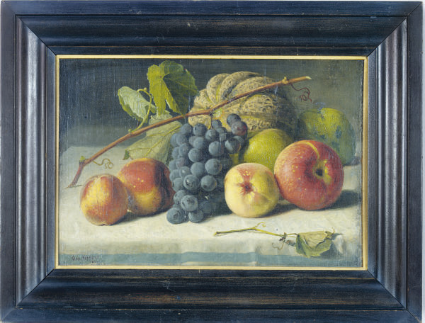 Still life of grapes, a melon, peaches and apples on a table