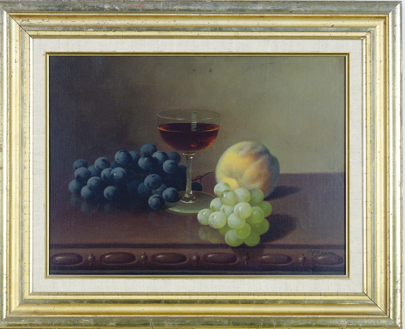 Still life with grapes, a peach and a glass of wine