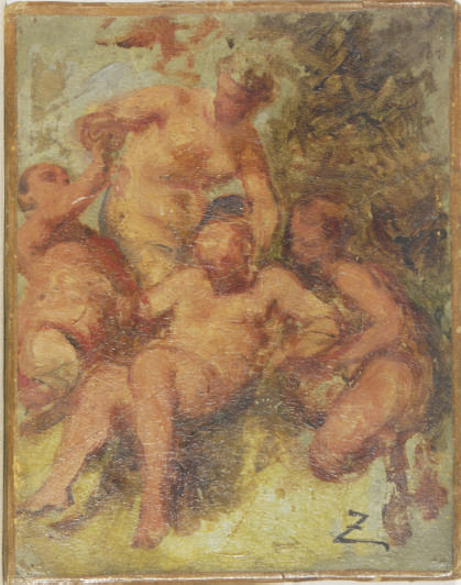 Fauns and Satyr - an oil sketch