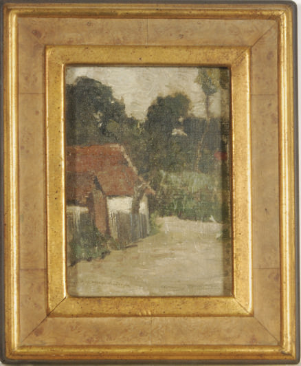 House with red roof (recto), Verdant landscape (verso); and a companion painting
