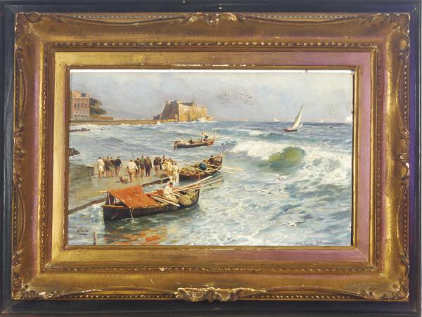 Fishermen setting out to sea, near the Castello dell'Oro, Naples