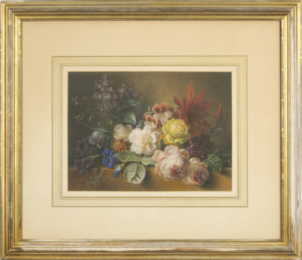 Still life of roses, lilacs and other flowers on a marble ledge