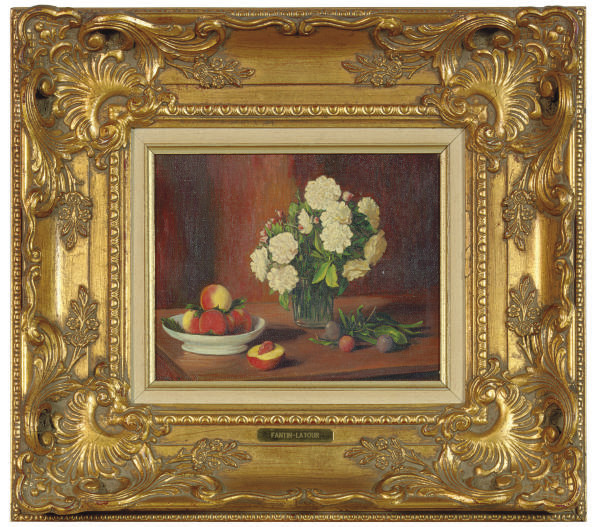 Still life with peaches, plums and flowers