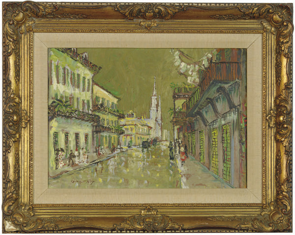 New Orleans street scene; and two companion paintings