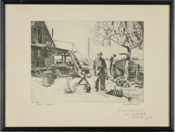 Boat builders near a harbor