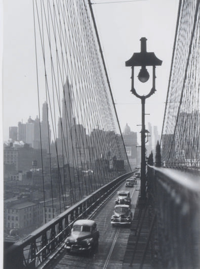 New York Harbor, Looking Toward Manhattan from the Footpath on Brooklyn Bridge, October, 1946