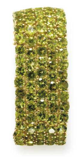 A PERIDOT AND GOLD BRACELET, BY COSTAGLI