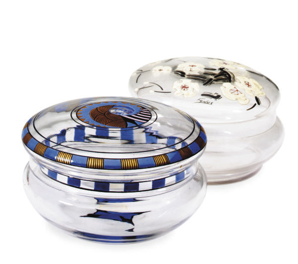 TWO ART DECO ENAMELED GLASS BOXES AND COVERS,