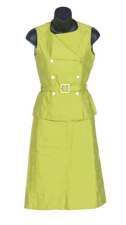 AN ANDRE COURREGES LIME GREEN COTTON TWO-PIECE DAY DRESS,