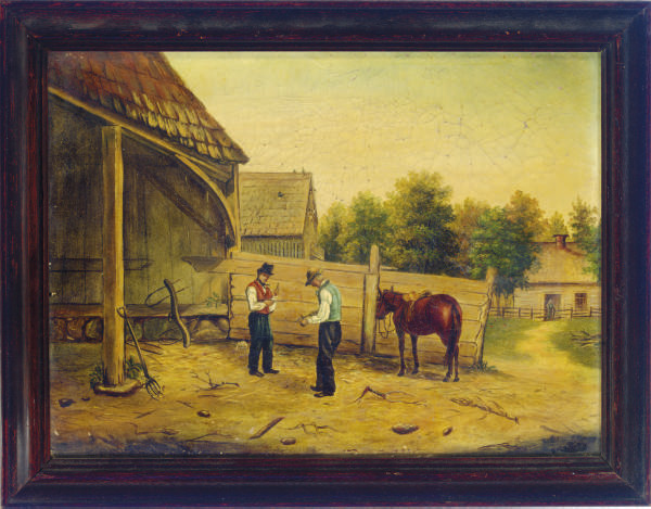 Two men at a horse stable