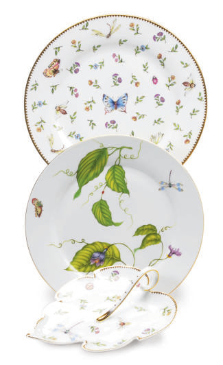 TWELVE HUNGARIAN GILT WHITE CHARGERS AND AN ASSEMBLED LIMOGES PORCELAIN DINNER SERVICE DECORATED BUTTERFLIES, INSECTS AND FLOWERS,