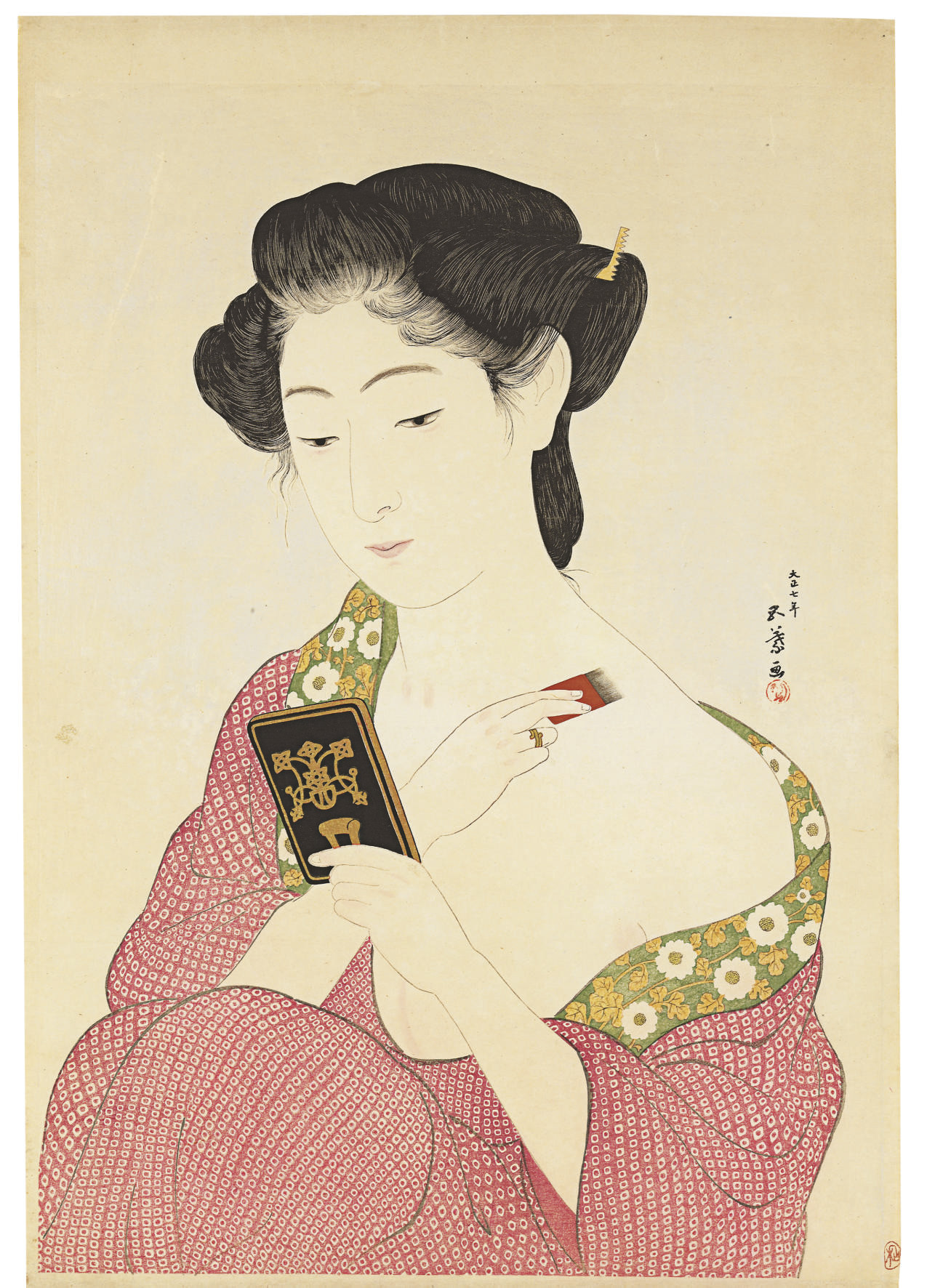Kesho no onna (Woman applying make-up), 1918