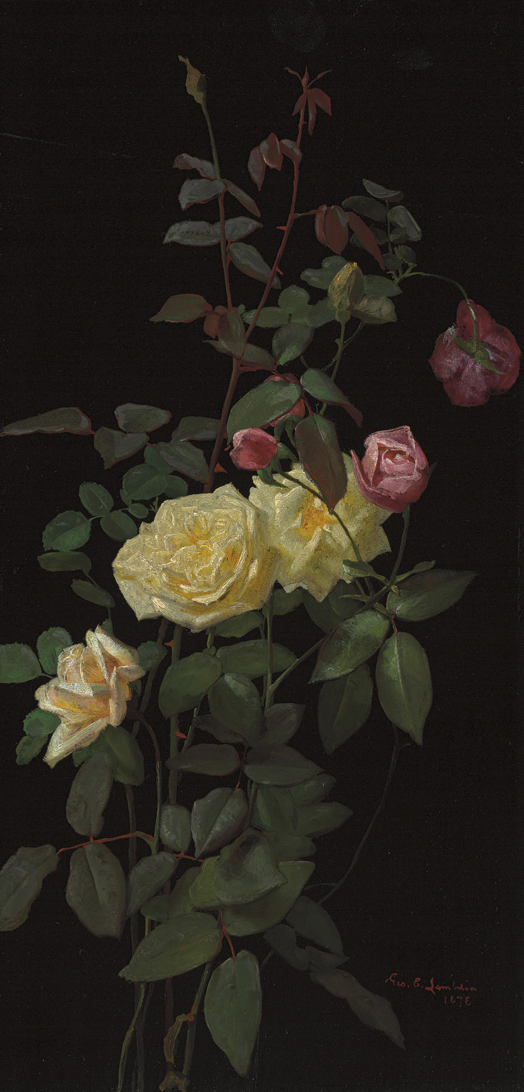 Still Life with Pink and Yellow Roses