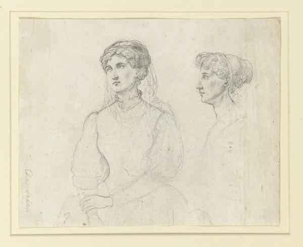 A half-length and bust-length portrait of a woman
