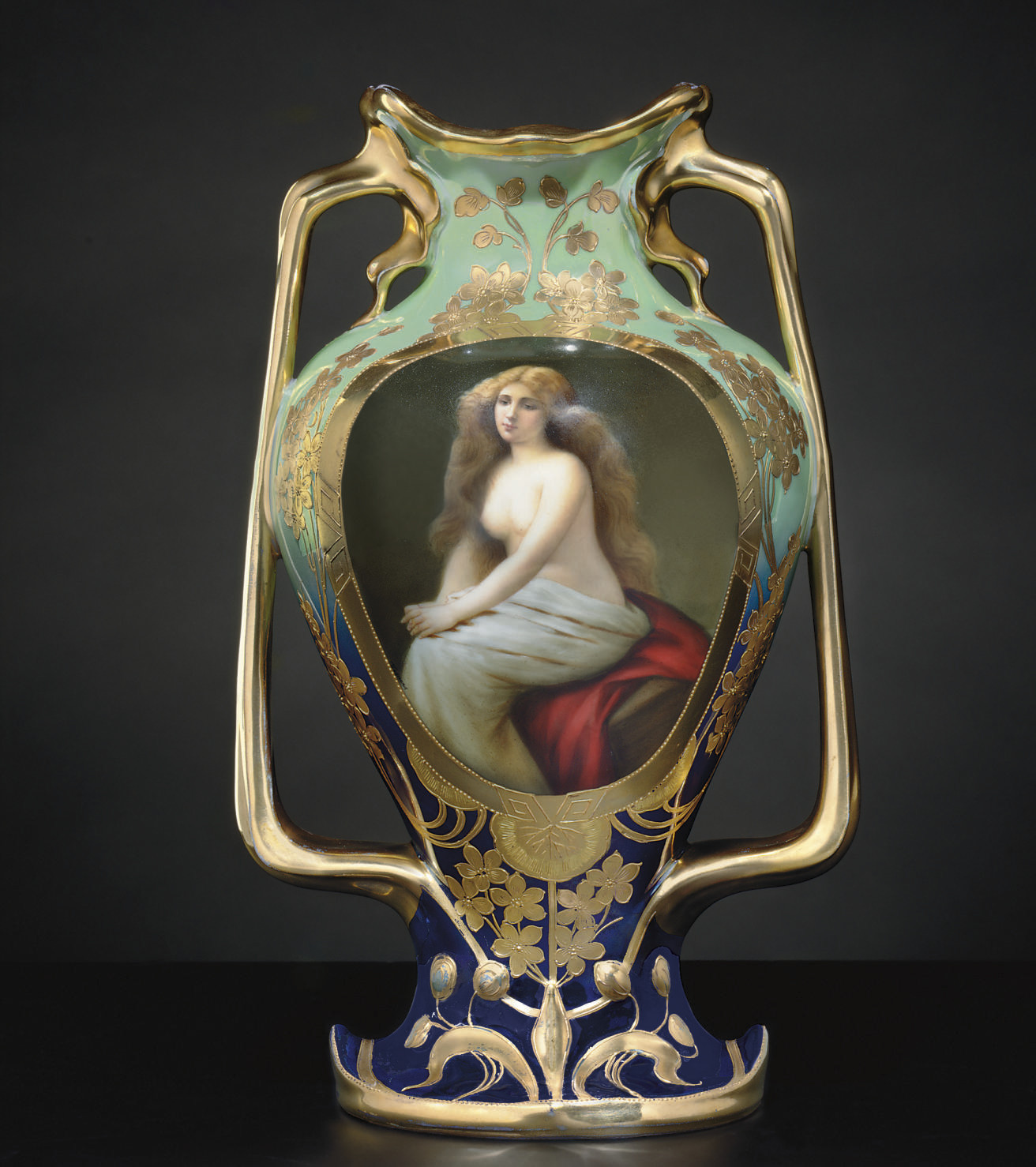 A VIENNA STYLE IRIDESCENT CELADON AND COBALT-BLUE GROUND PORTRAIT VASE, 'SOLITUDE'