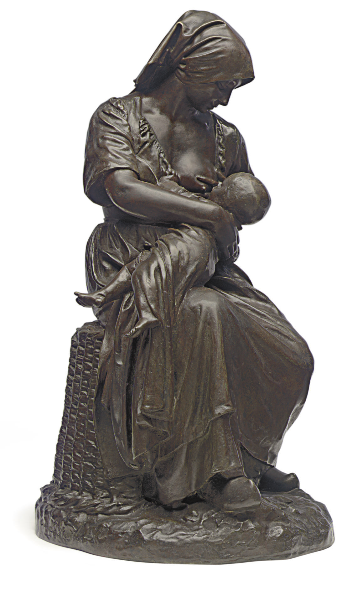 A FRENCH BRONZE FIGURAL GROUP ENTITLED 'MATERNITE'