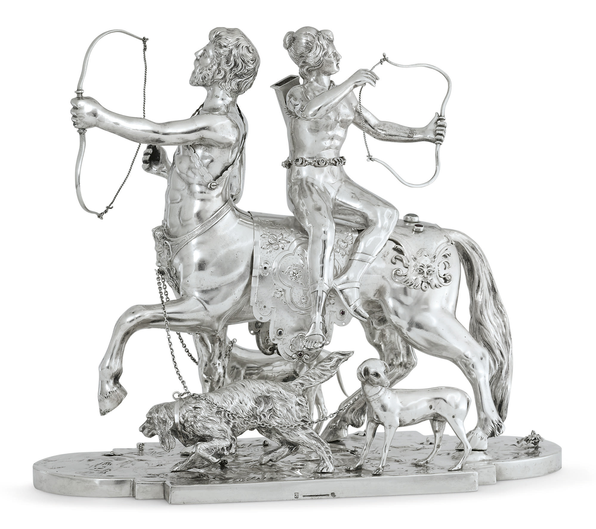 A GERMAN SILVER FIGURAL GROUP