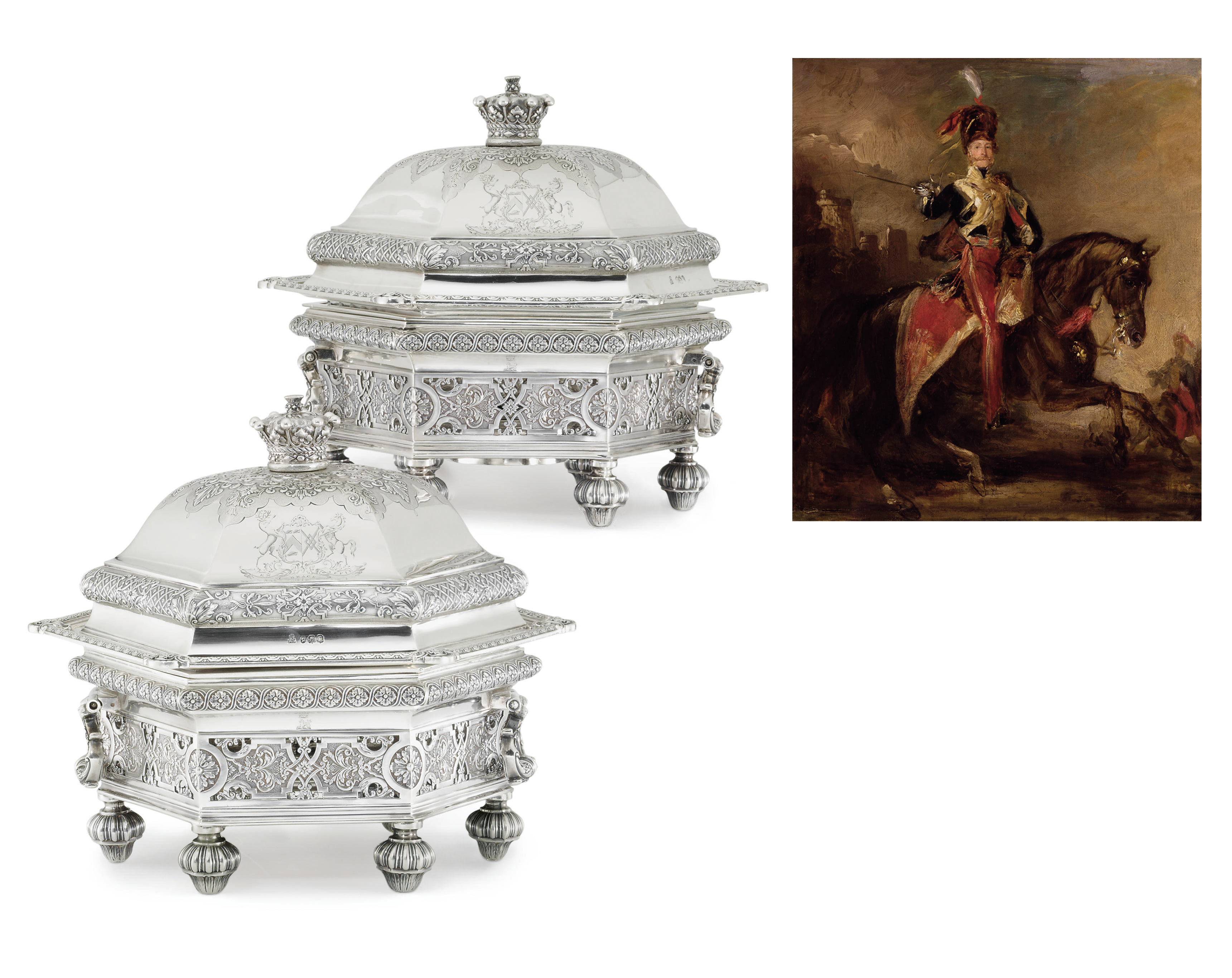 A PAIR OF VICTORIAN SILVER ENTREE DISHES ON STANDS