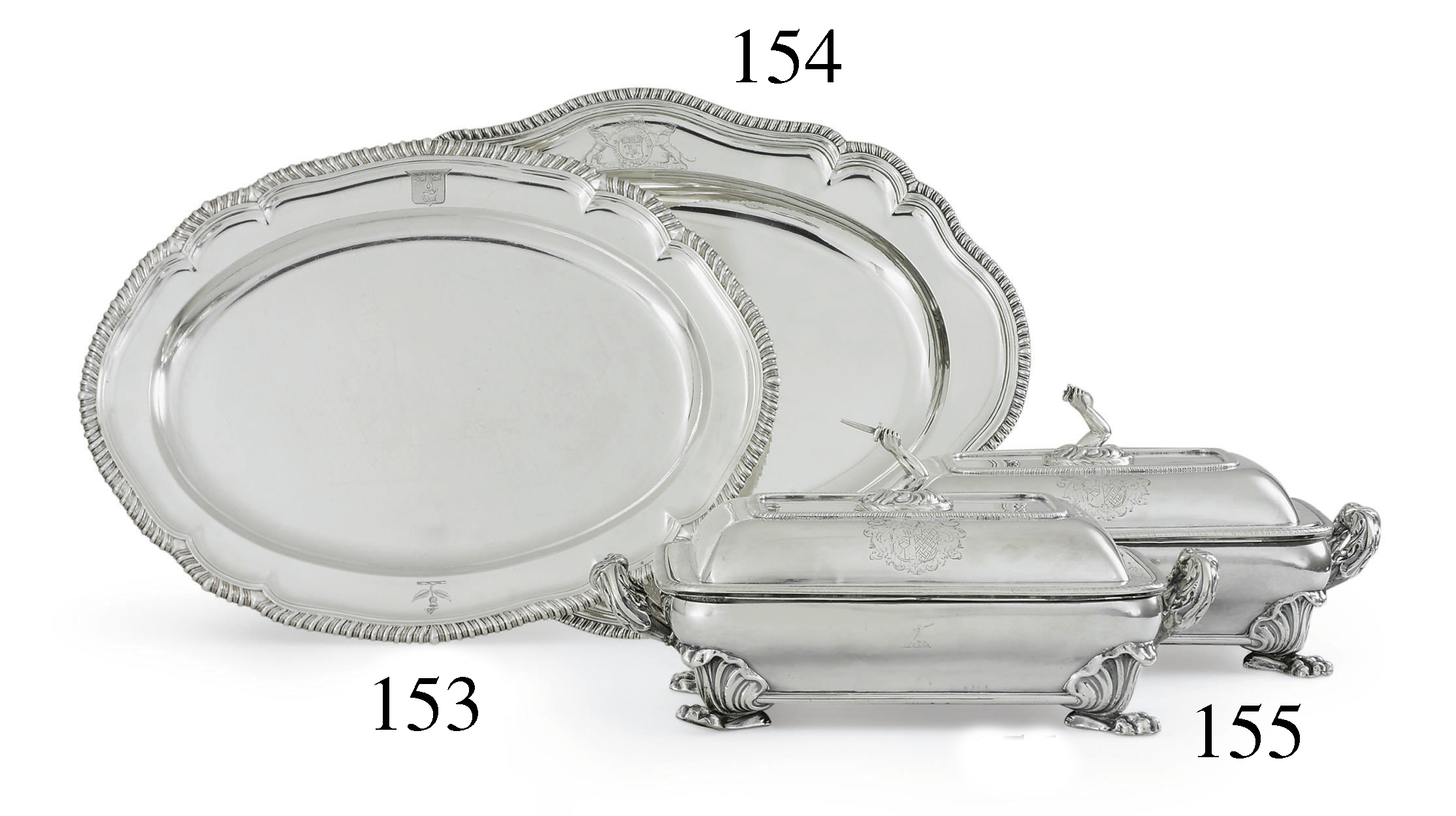 A PAIR OF GEORGE III SILVER ENTREE DISHES ON SHEFFIELD-PLATED STANDS