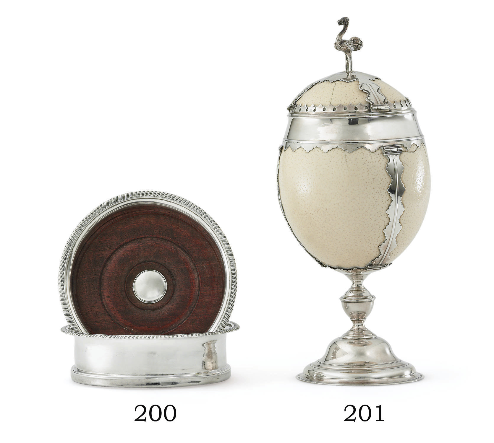 A GEORGE II SILVER-MOUNTED OSTRICH EGG CUP AND COVER