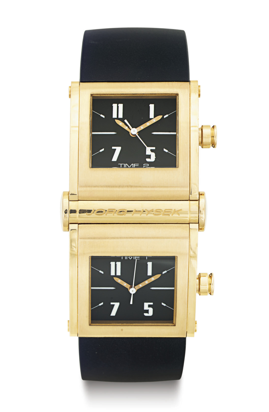 JORG HYSEK. A LIMITED EDITION 18K GOLD DOUBLE-DIALED DUAL TIME WRISTWATCH