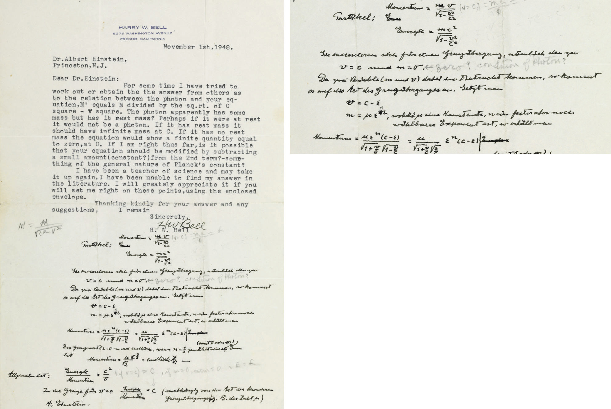 """EINSTEIN, Albert (1879-1955). Autograph scientific manuscript signed (""""A. Einstein""""), INCLUDING HIS FAMOUS FORMULA """"ENERGY=MC2..."""", added in blank portion of a Typed letter signed from H. W. Bell to Einstein, 1 November 1948. 1 page, 4to, with pencil notations in another hand. Einstein's text in German."""