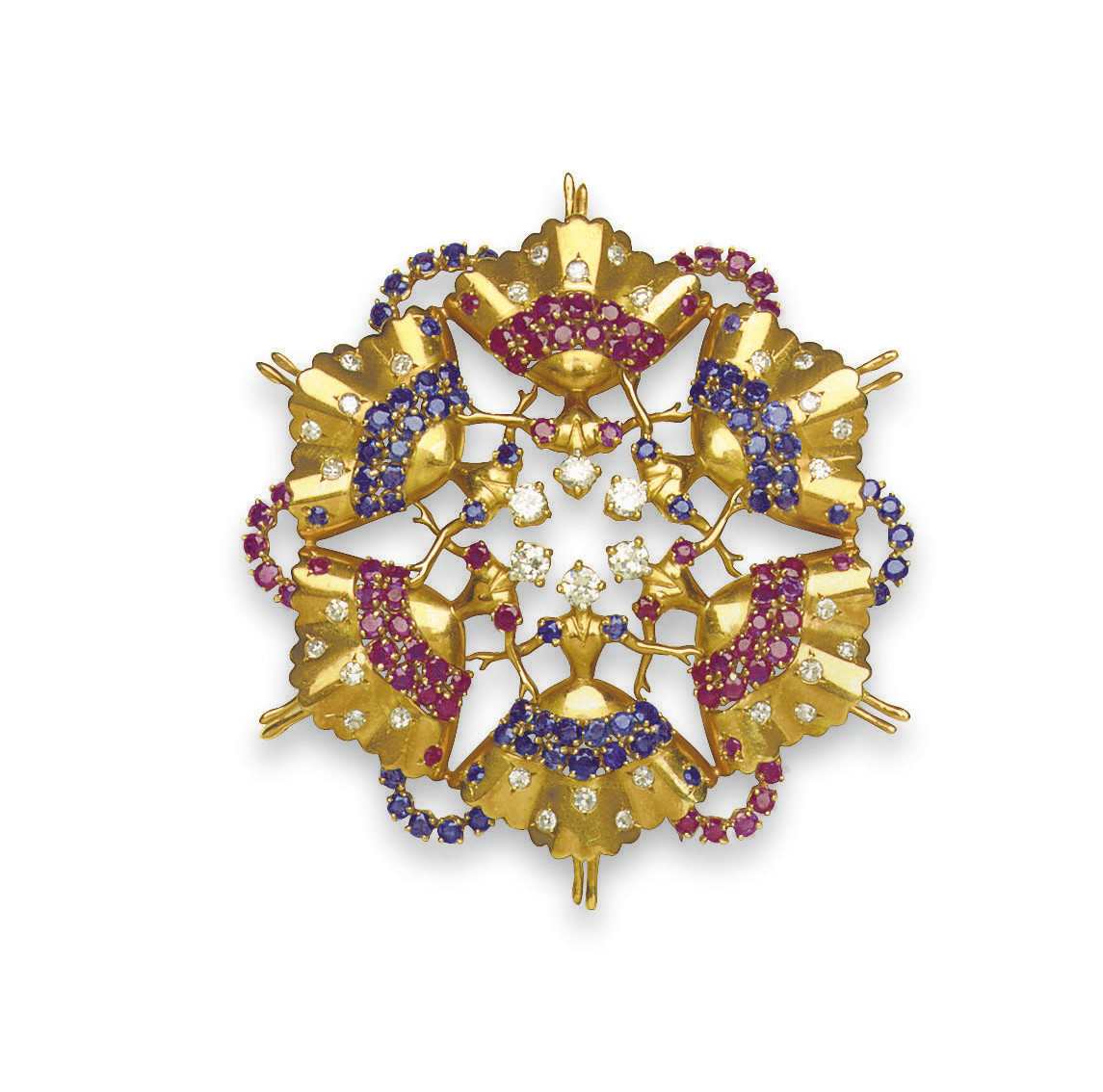 "A RETRO DIAMOND, SAPPHIRE AND RUBY ""ROCKETTE"" BROOCH, BY JOHN RUBEL"