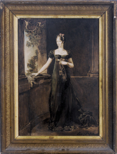 Portrait of a lady in a long green dress in front of a window