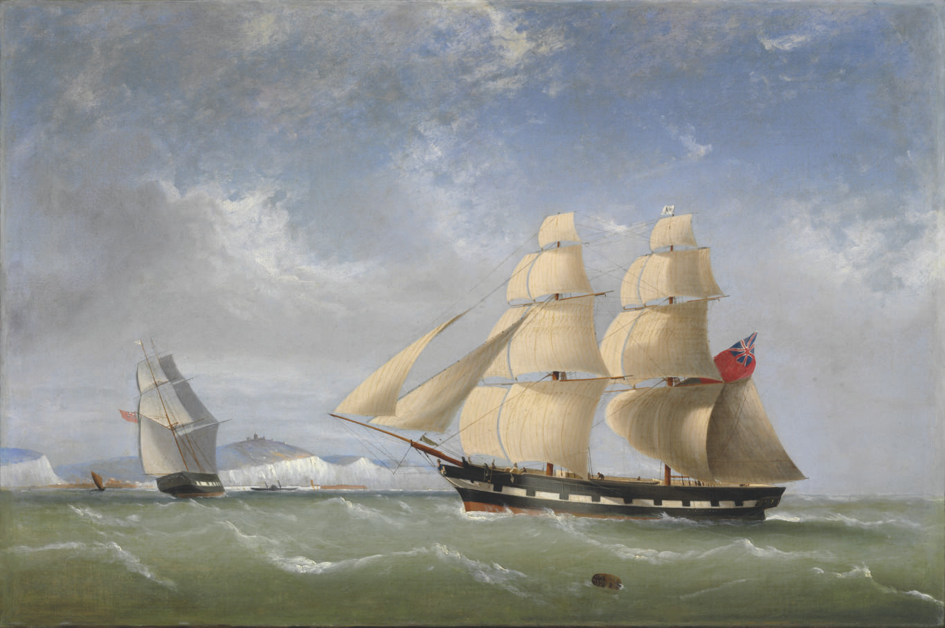 A ship in two positions off Dover in the channel