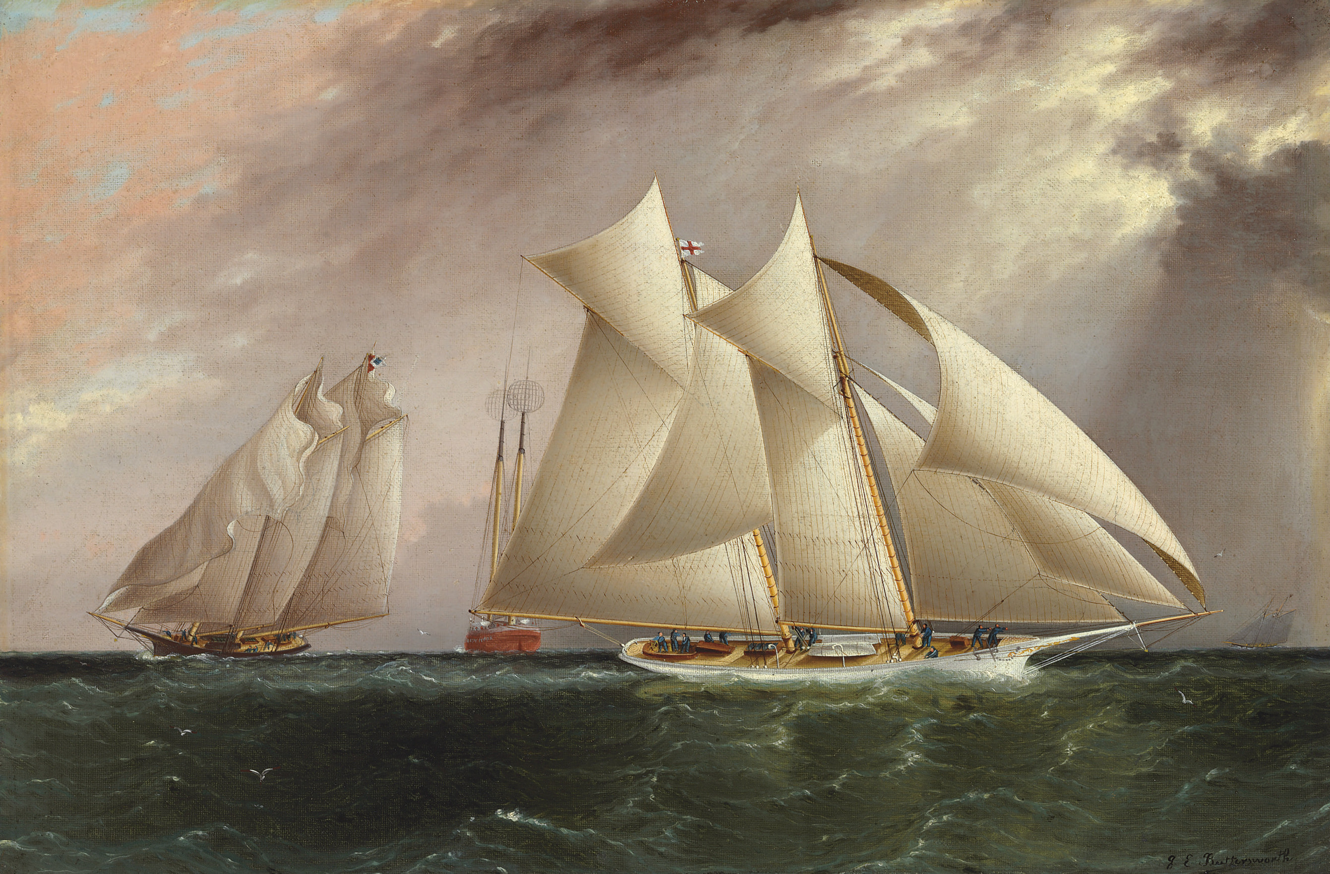 Columbia leading Dauntless around the Sandy Hook lightship in the Hurricane Cup Race