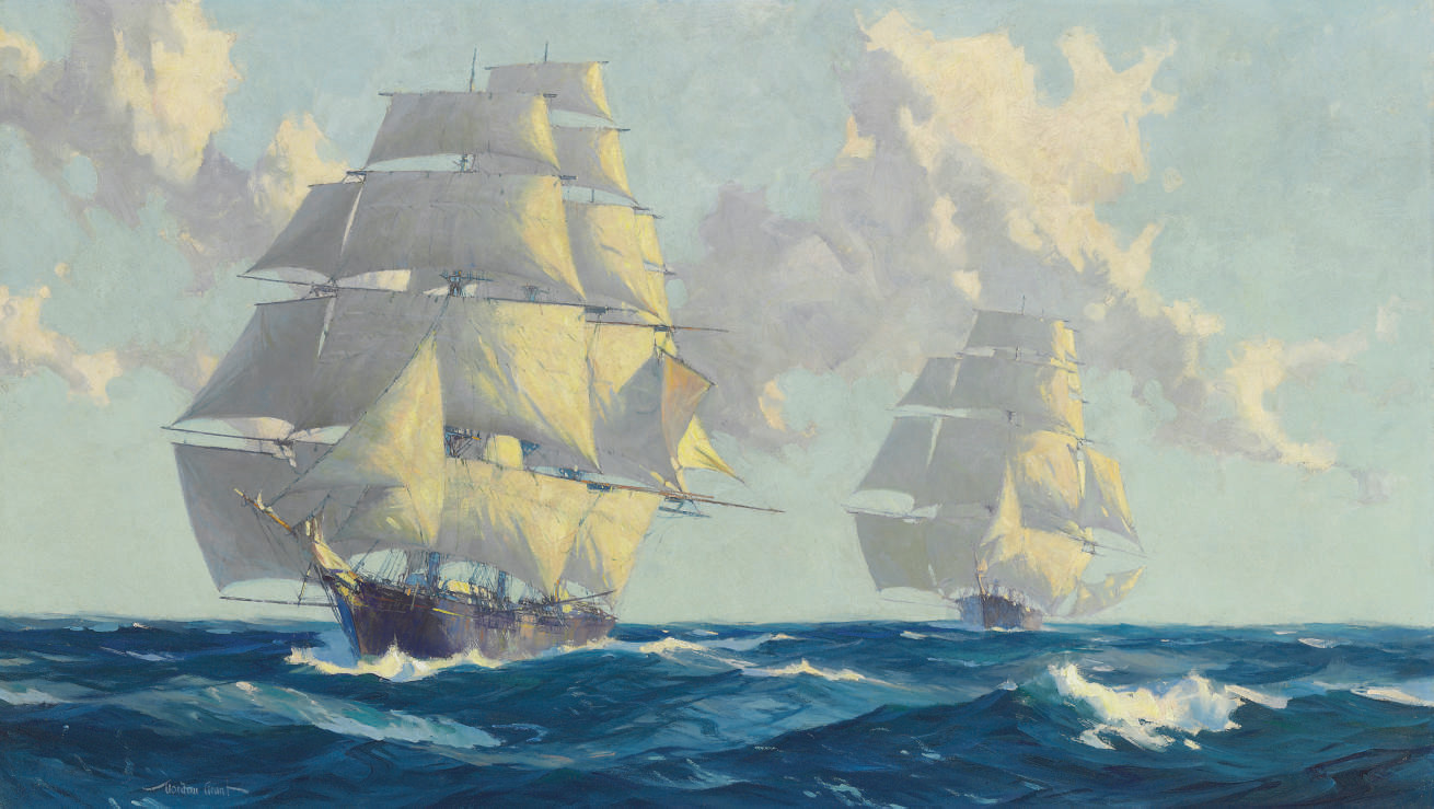 Clipper Ships Racing Neck and Neck