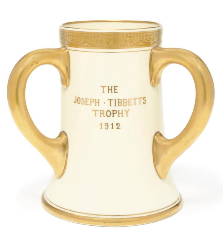 A three handled porcelain trophy for the R.M.S. Mauretania
