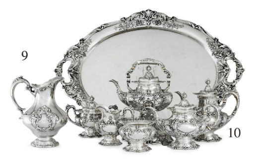 A SILVER SIX-PIECE TEA AND COFFEE SERVICE WITH TRAY**