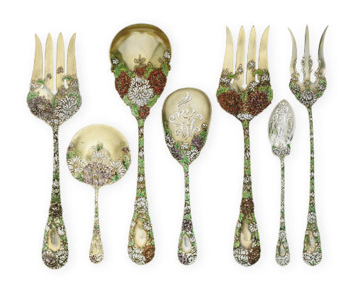 A GROUP OF RARE SILVER-GILT AND ENAMEL SERVING PIECES