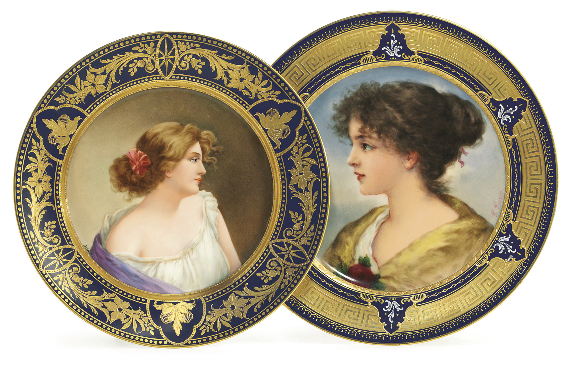 TWO VIENNA STYLE COBALT-BLUE GROUND PORTRAIT PLATES, 'SOURIRE.' AND 'INGEND'